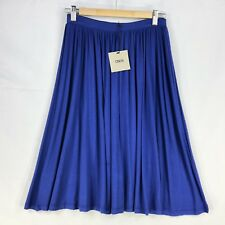 ASOS Skirt Size 10 A Line Solid Blue Knee Length Stretch Elastic Waist Work Fun