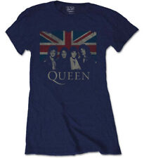 Queen 'Vintage Union Jack' (Navy) Womens Fitted T-Shirt - NEW & OFFICIAL!