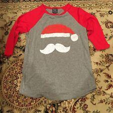 Modern Lux Women's XS/S Grey 3/4 Red Sleeve T Shirt Santa Mustache Christmas