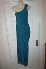 Ladies New Teal Green West One Dress Size 14 Stretchy Off Shoulder Diamante