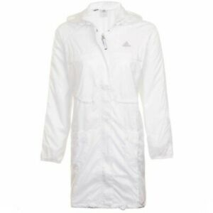 Adidas Women's White ClimaProof Full Zip Long Jacket XS S M L XL  Hood