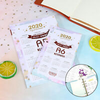 2020 Calendar Card Paper Watercolor Year Page for 6 Hole Loose-leaf A5 A6 Bin DD