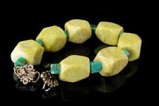 Vintage Green Stone Amazonite Beads Sterling Bracelet A22284