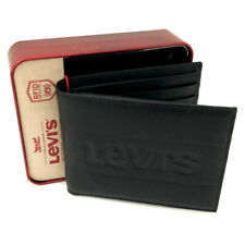 NEW Genuine LEVI'S Black Leather Bifold Wallet (RFID Protection) Gift Boxed