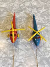 Vintage 50's Plastic Thomas Toy Helicopter Lot Red Blue Pull Strings Intact