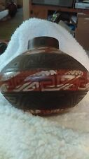 "Handcrafted Chulucanas Peru Pottery vase Artist Signed 6""H painted and embossed"