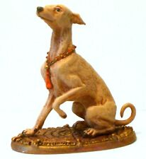 PEWTER HAND PAINTED  MINIATURE FIGURINE OF ITALIAN GREYHOUND DOG  STATUETTE