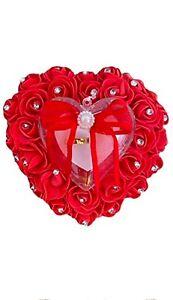 eBoutik -Floral Romantic Heart Shape Ring Box/Pillow with Rhinestones - Weddings