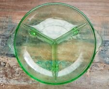 """Green Depression Style Glass Footed Divided Candy Snacks Trinket Dish 8.5"""""""