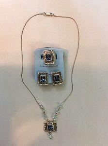Vintage Avi Soffer Sterling Necklace Earrings Ring Blue Topaz? Set