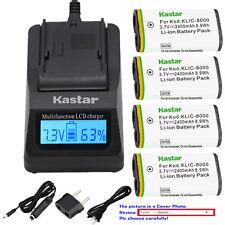 Kastar Battery LCD Fast Charger for Kodak KLIC-8000 & Pocket Video Camera ZXD