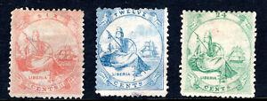 Liberia Stamp Lot #2: Scott #13 & 14 Used & #15 Mint MH, 1866