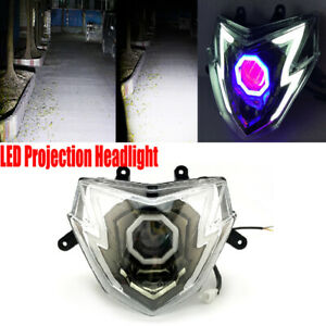 Motorcycle LED Headlight Housing Assembly Lens Spotlight Front Light Lamp ABS