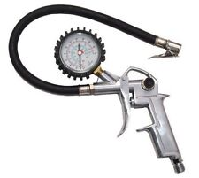 220 PSI Pistol-type Inflator Air Chuck with Dial Tire Gauge w/ Flexible Hose