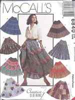 6840 UNCUT McCalls SEWING Pattern 4 Tiered Western Pull on Skirt Square Dance