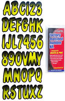 "3"" INCH YELLOW/BLACK SHADED BOAT LETTERS,NUMBERS,STICKERS,NUMBER KIT"