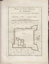 C1 AFRIQUE Nicolas BELLIN Plan  du FORT ANGLOIS DE SUKONDA 1748 Ghana ORIGINAL