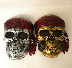 UK PIRATE SKULL MASK COSPLAY HALLOWEEN DELUXE FANCY DRESS PARTY ACCESSORY FUN