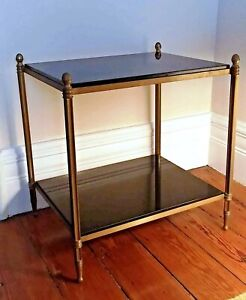 Global Views Antiqued Brass and Black Granite Acorn Side End Two-Tier Table