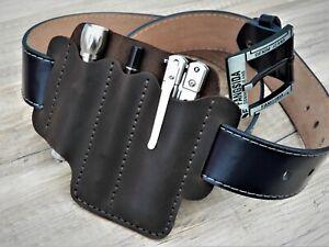 EDC leather organizer large Multitool pouch Belt organizer Pen Flashlight Sheath