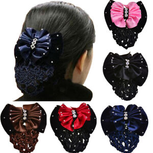 Women Bun Cover Hair Snood Ballet Dance Skating Crochet Hair Net Barrette Clips