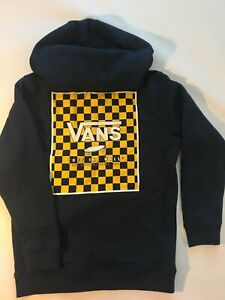 Vans New Print Box Back Hooded Pullover Sweatshirt Dress Blue Youth Boy's Medium