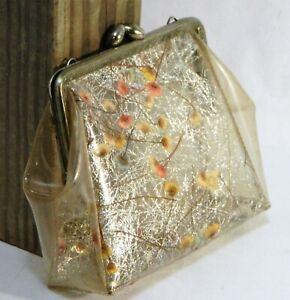 Girls Purse Handbag Clear Plastic Pressed Flowers Gold Vintage