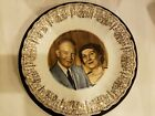 PRESIDENT & MRS DWIGHT D EISENHOWER AMERICA'S FIRST FAMILY PLATE W/ Wood Plaque