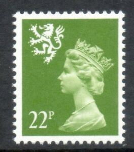 Scotland. S48ea. 22p yellow-green. Type II. Superb unmounted mint.