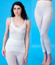 Ladies Thermal Lace Trim French Neck Snowdrop Fleece Spencer Vest & Long Johns.