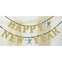 New Year's Eve Party Gold Glitter Banner With Stars Hanging Decoration 3.6M