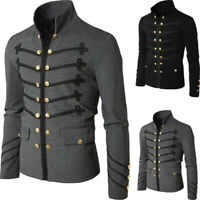 Retro Men Gothic Brocade Jacket Frock Coat Steampunk Victorian Morning Outwear B