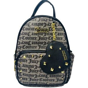 Juicy Couture Backpack Black gothic Monogram + heart coin Purse gold studded NWT