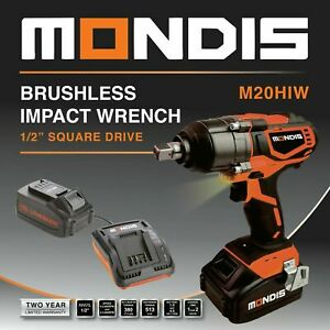 "NEW Mondis 1/2"" Cordless Impact Wrench - Lithium-Ion Battery Rattle Gun Sockets"