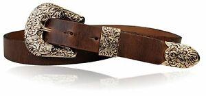 FRONHOFER hochwertiger Western Damengürtel 3 cm, echtes Leder, florale Schnalle