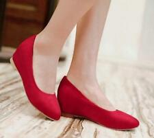Fashion Womens Satin Shoes Hidden Wedge Heel Round Toe Pumps All Plus US Size