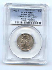 2000-P SOUTH CAROLINA QUARTER (25C)-5% OFF CENTER-PCGS MS 64-RARE-MINT ERROR-