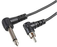 """RCA Phono to 6.35mm Mono 1/4"""" Guitar Adapter Cable 90 Degree Right Angle Ends 1m"""