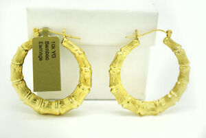 BAMBOO HOOPS EARRINGS Solid 10k Yellow Gold  **NEW WITH TAG ** FREE SHIPPING*