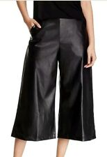 Soprano Womens Gaucho Pleather Pants Size L Large Black Shiny Capri Wide Leg New