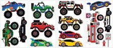 MONSTER TRUCKS Wall Decals FIRE ENGINE RACE CAR JEEP POLICE Stickers Room Decor