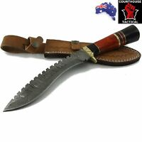Handmade Khurki Sword Damascus Blade, Buffalo Horn, Pakka Wood & Brass Handle