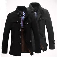 Men's Wool Military Coat Winter Warm Stand Collar Casual Jacket Coat Outwear New