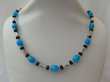 Azure Blue Crackle Glass and Black Faceted Glass and Silver Tone Bead Necklace