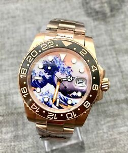 New 40mm Luminous Dial Date Rose Gold Case Men's Watch Automatic Mechanical