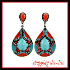 EARRINGS bohemian resin beads silver pierced Orange Blue Ethnic Tribal  Design