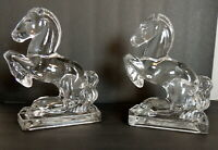"Vintage Horse Bookends Glass Statues Ice Clear Prancing Very Heavy 7.5"" high"