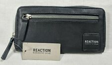 New NWT Kenneth Cole Reaction Black Zip Around Ladies Wallet Charcoal Gray