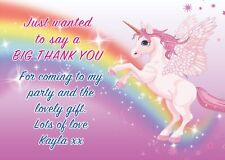 PERSONALISED CHILDRENS UNICORN BIRTHDAY THANK YOU NOTES CARDS   X 8