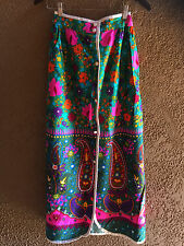 VTG Psychedelic Hippie Mod 60s 70s Floral Paisley Boho Festival Maxi Skirt M